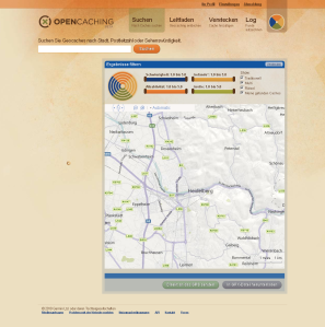 Suche nach Caches bei opencaching.com